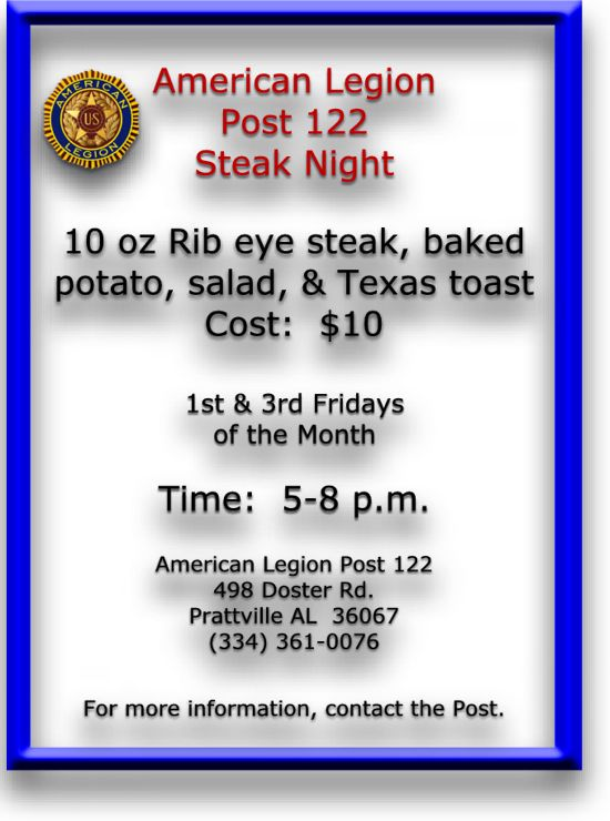 Steak night - 1st & 3rd Fridays - $8.00